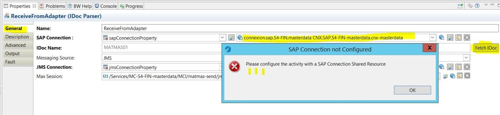 IDOC schema FETCH button on SAP Plugin activity doesn't work