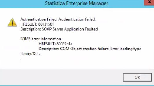 How To Resolve Sdms Client Error Com Object Creation Failure Error Loading Type Library Dll