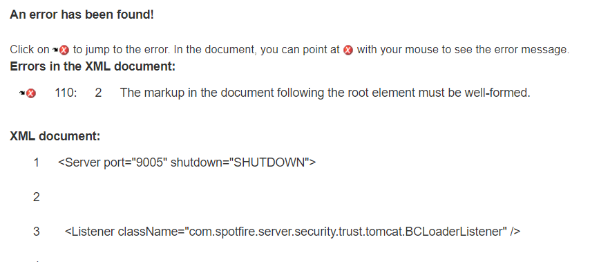 TIBCO Spotfire Server fails to start with the error